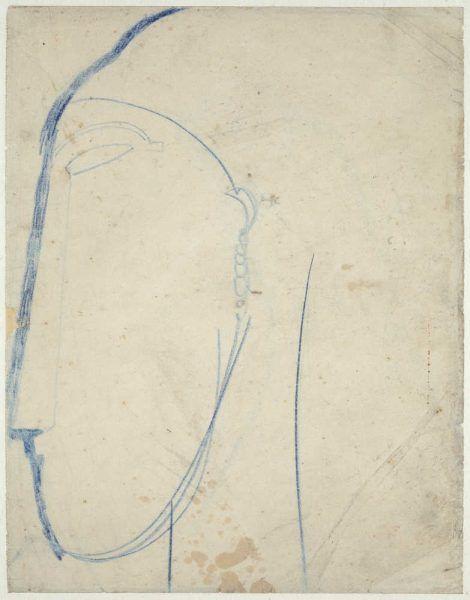 Amedeo Modigliani, Weiblicher Kopf im Profil nach links, um 1914/15