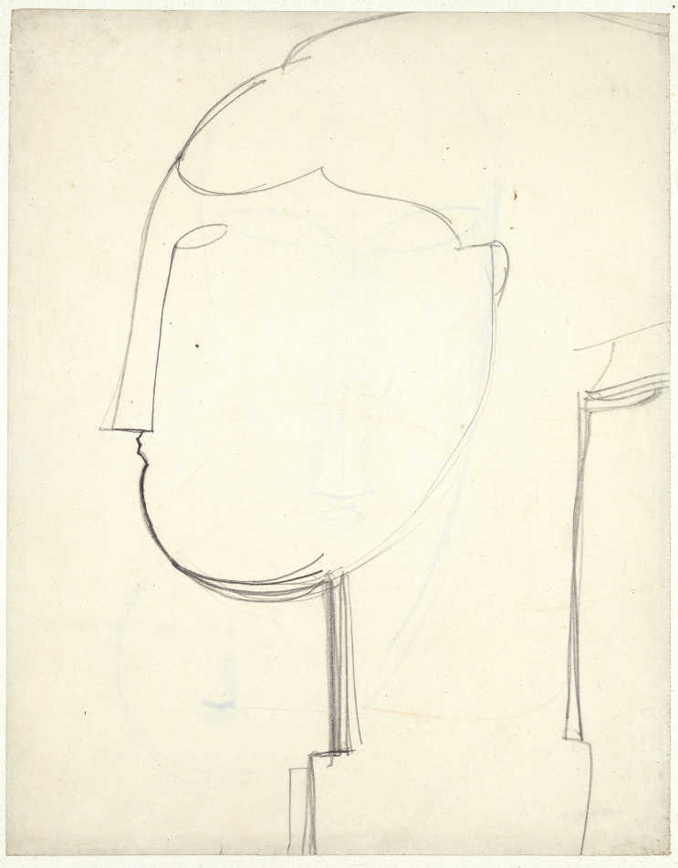Amedeo Modigliani, Weiblicher Kopf im Profil nach links auf einem Sockel, um 1914/15 (Basel)