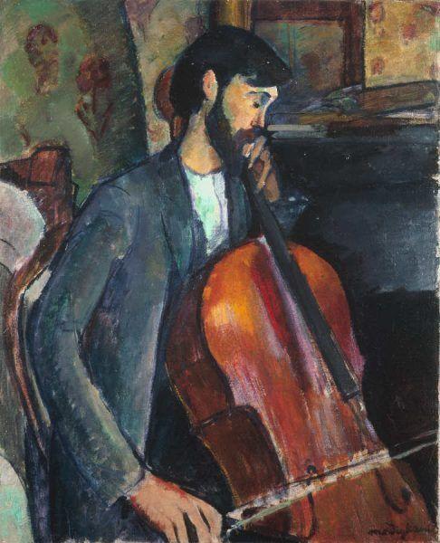 """Amedeo Modigliani, Der Cellist, 1909, Öl auf Leinwand, 73 x 60 cm (Abelló Collection, Madrid, auf der Rückseite befindet sich """"Constantin Brancusi"""")"""