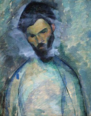 """Amedeo Modigliani, Constantin Brancusi, 1909, Öl auf Leinwand, 73 x 60 cm (Abelló Collection, Madrid, auf der Rückseite befindet sich """"Der Cellist"""")"""