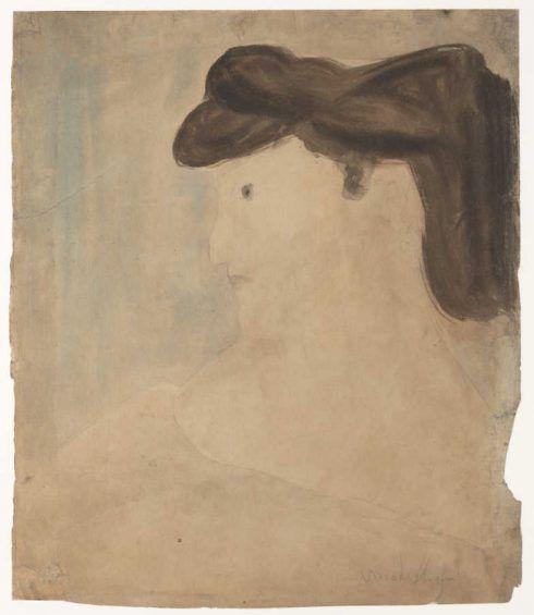 Amedeo Modigliani, Frau im Profil, 1909, Aquarellfarben und Grafit auf Papier, 29,5 x 25,1 cm (The MET, New York, Gift of Rose Kovner, in memory of her husband, Harold Kovner, 1991)
