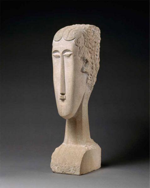 Amedeo Modigliani, Kopf einer Frau (gedreht), 1912, Kalkstein, 68.6 x 23.5 x 24.8 cm (The MET, New York)