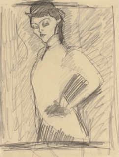 Amedeo Modigliani, Studie für die Amazone, 1909, Kohle auf Papier (Privatsammlung) Foto © Sotheby's