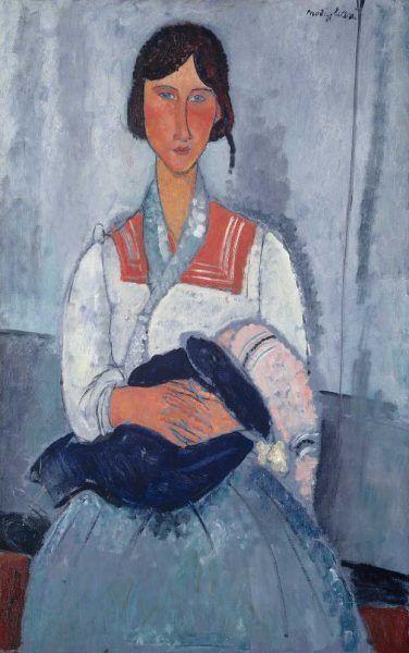 Amedeo Modigliani, Zigeunerfrau mit Kind, 1919, Öl auf Leinwand, 15,9 x 73 cm (Chester Dale Collection, Washington National Gallery of Art, Washington, 1963.10.174)