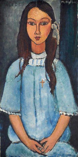 Amedeo Modigliani, Alice, um 1918, Öl auf Leinwand, 78,5 x 39 cm (Statens Museum for Kunst, Kopenhagen, KMSr145)