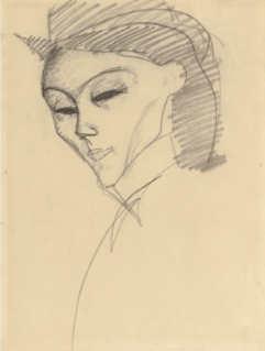 Amedeo Modigliani, Studie für den Kopf der Amazone, 1909, Kohle auf Papier (Privatsammlung) Foto © Sotheby's