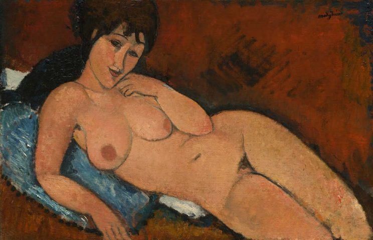 Amedeo Modigliani, Akt auf einem blauen Kissen, 1917, Öl auf Leinwand, 65,4 x 100,9 cm (Chester Dale Collection, Washington National Gallery of Art, Washington, 1963.10.46)