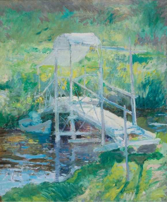 John Henry Twachtman, Die weiße Brücke, Ende 1890er, Öl auf Leinwand, 76,8 x 63,8 cm (Memorial Art Gallery of the University of Rochester, New York, Gift og Emily Sibley Watson 16.9).