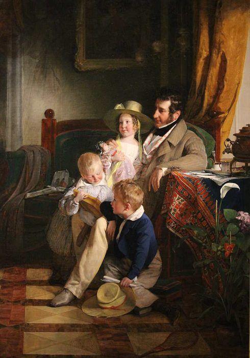 Friedrich von Amerling, Rudolf von Arthaber und seine Kinder Rudolf, Emilie und Gustav, 1837, Öl auf Leinwand 221 x 155 cm (© Belvedere, Wien)