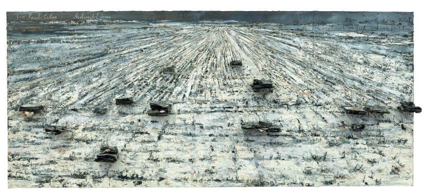 Anselm Kiefer, Für Paul Celan: Aschenblume, 2006, Öl, Acrylemulsion, Schellack und verbrannte Bücher auf Leinwand, 330 x 760 x 40 cm (Privatsammlung) Foto: © Charles Duprat.