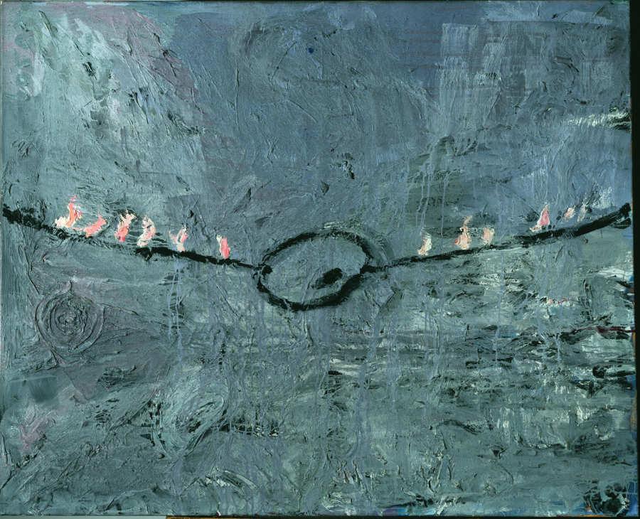 Anselm Kiefer, Palette am Seil, 1977, Öl, Acryl, Emulsion und Schellack auf Leinwand, 130 x 160 cm (Städtische Galerie im Lenbachhaus und Kunstbau, München) Foto: © Städtische Galerie im Lenbachhaus und Kunstbau, München.