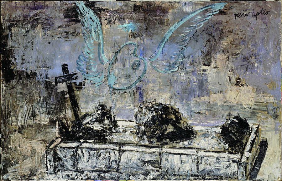 Anselm Kiefer, Resumptio, 1974, Öl, Emulsion und Schellack auf Jute, 115 x 180 cm (Privatsammlung) Foto: © Atelier Anselm Kiefer.