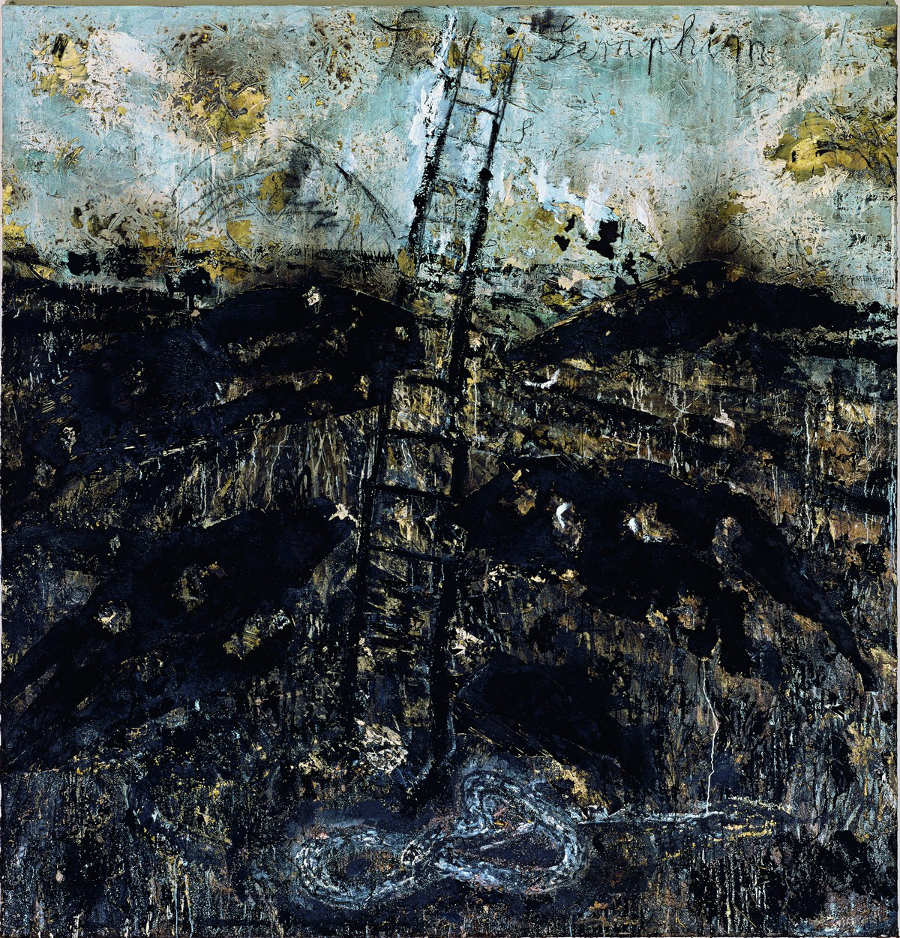 Anselm Kiefer, Seraphim, 1983–1984, Öl, Stroh, Emulsion und Schellack auf Leinwand, 320,7 × 330,8 cm (Solomon R. Guggenheim Museum, New York, Purchased with funds contributed by Mr. and Mrs. Andrew M. Saul, 1984) Foto: © Atelier Anselm Kiefer.