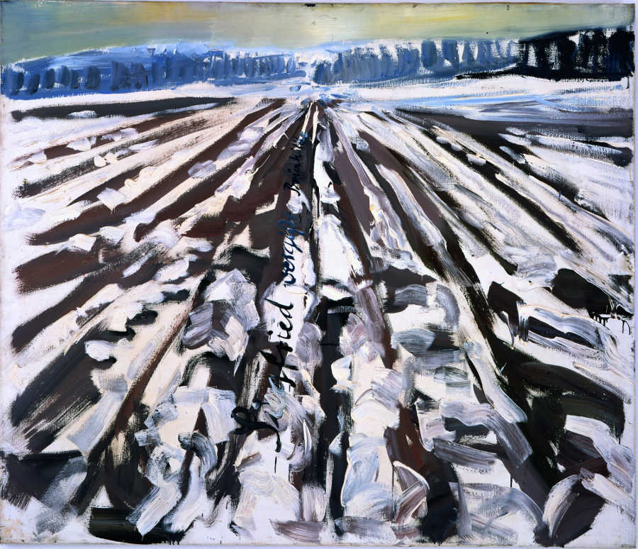 Anselm Kiefer, Siegfried vergißt Brünhilde, 1975, Öl auf Leinwand, 130 x 150 cm (MKM Museum Küppersmühle für Moderne Kunst, Duisburg, Ströher Collection) Foto: © Olaf Bergmann Witten.
