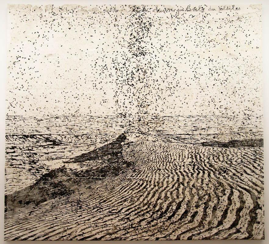 Anselm Kiefer, Cette obscure clarté qui tombe des étoiles, 1997–2015, Holzschnitt, Sonnenblumenkerne und Kohle auf Papier, auf Leinwand kaschiert, 375 x 396 cm (Privatsammlung), Foto: Alexandra Matzner.