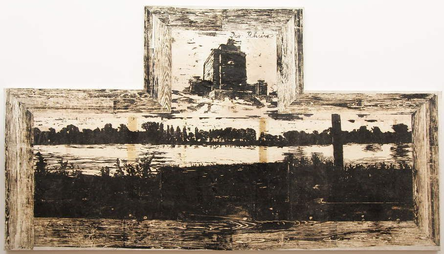 Anselm Kiefer, Der Rhein, 1982, Holzschnitt, Öl und Emulsion auf Papier, Collage auf Leinwand, 242 x 432 cm (Privatsammlung), Foto: Alexandra Matzner.