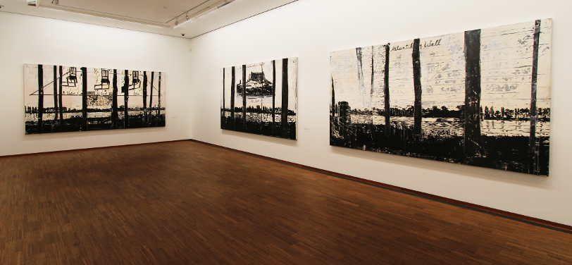 Anselm Kiefer, Drei Holzschnitte aus der Rhein-Serie, 1982–2013, Installationsansicht in der Albertina, Foto: Alexandra Matzner.