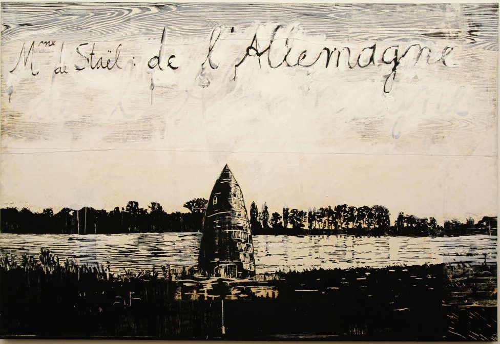 Anselm Kiefer, Madame de Staël: de l'Allemagne, 1982–2013, Holzschnitt, Acryl und Schellack auf Papier, Collage auf Leinwand, 190 x 280 cm (Privatsammlung), Foto: Alexandra Matzner.