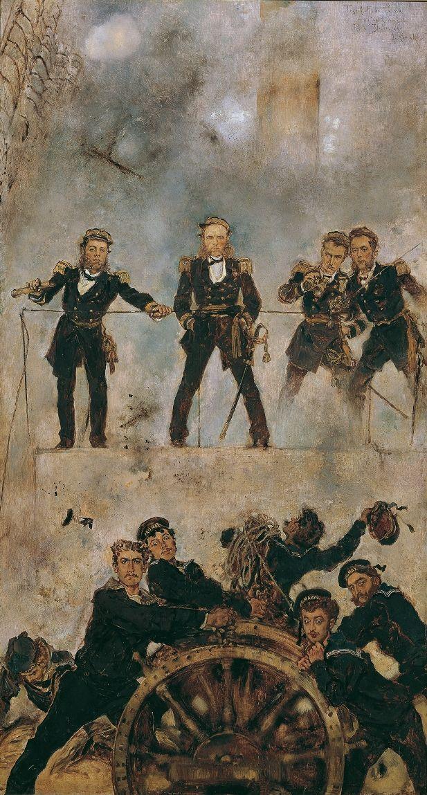 Anton Romako, Tegetthoff in der Seeschlacht bei Lissa I, 1878-1880, Öl auf Holz, 86,5 x 47,5 cm (Belvedere, Wien).