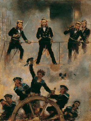 Anton Romako, Tegetthoff in der Seeschlacht bei Lissa II, um 1880-1882, 24 x 18 cm (Belvedere, Wien).
