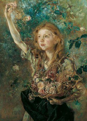 Anton Romako, Die Rosenpflückerin, um 1882-1884, Öl auf LW, 89 x 66 cm (Belvedere, Wien).
