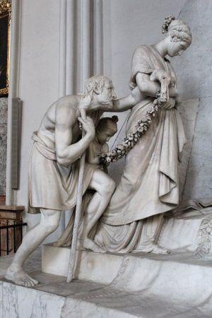 Antonio Canova, Grabmal für Erzherzogin Marie Christine von Sachsen-Teschen, 1800-1805, Trauernde Frau und alter Mann, Foto: Alexandra Matzner.