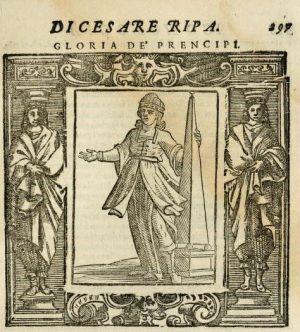Cesare Ripa Iconologia, Siena, 1613, S. 297: Gloria de` preincipi (URL: http://digi.ub.uni-heidelberg.de/diglit/ripa1613bd1/0047).