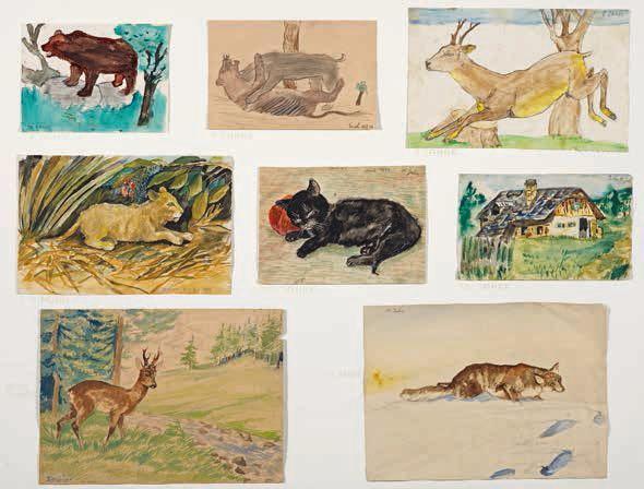 Arik Brauer, Acht Kinderzeichnungen, Wien 1936–1940, o.Nr., Wasserfarben auf Papier, Maße variabel: 79 × 90 cm (Privatbesitz)