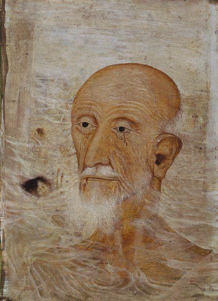 Arik Brauer, Mann im Gas, Wien 1946–1954, Frühe Ölbilder III, Öl auf Hartfaserplatte mit Kaseingrund, 35 × 22 cm (Privatbesitz)