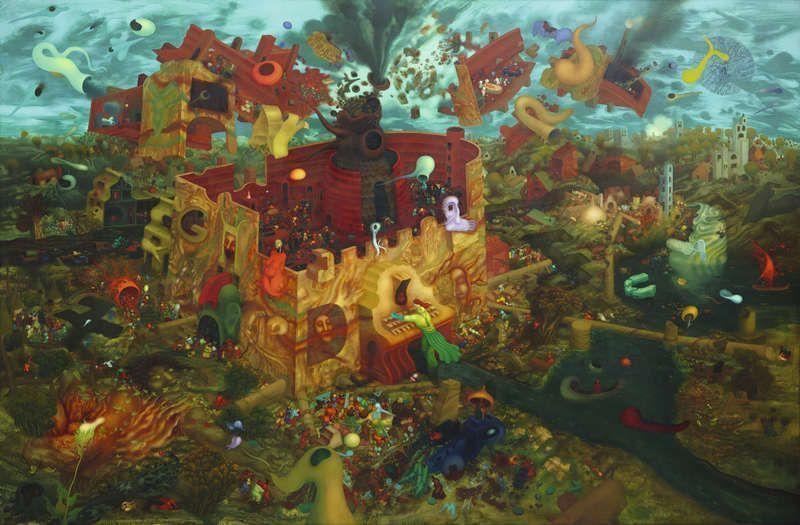 Arik Brauer, Der letzte Hahnenschrei, Wien 1976, Öl 279, Öl auf Hartfaserplatte, 200 × 300 cm (Privatbesitz)