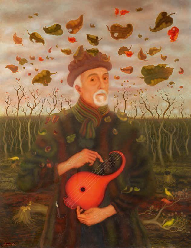 Arik Brauer, Arik Brauer im Herbst, Wien April–Juni 2014, Öl 869, Öl auf Hartfaserplatte, 130 × 100 cm (Privatbesitz)