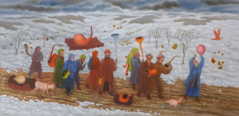 Arik Brauer, Die Klezmerim unterwegs, Detail, Wien 2003, Öl 649, Öl auf Hartfaserplatte mit Kaseingrund, 98 × 202 cm (Privatbesitz).