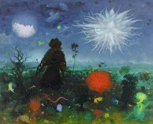 Arik Brauer, Der Regenmacher von Karmel, Wien 1964, Öl 144, Öl auf Hartfaserplatte mit Acrylgrund, 123 × 149 cm (Privatbesitz).
