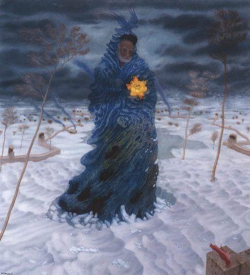 Arik Brauer, Mein Vater im Winter, 1984 (Privatbesitz)