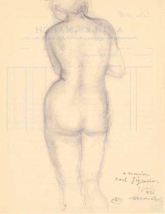 Aristide Maillol, Stehender weiblicher Rückenakt, 1926, Zeichnung (Albertina, Wien)