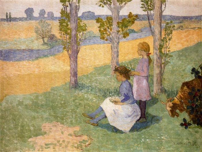 Aristide Maillol, Der Blumenkranz, um 1888/89, Öl auf Leinwand (Ny Carlsberg Glyptothek, Kopenhagen)