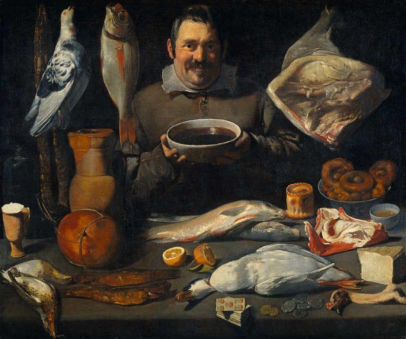 Meister des Amsterdamer Bodegón (vormals Alejandro de Loarte zugeschrieben), Küchenszene (Bodegón), Rijksmuseum Amsterdam, Depositum im Museum Boijmans van Beuningen, Rotterdam.