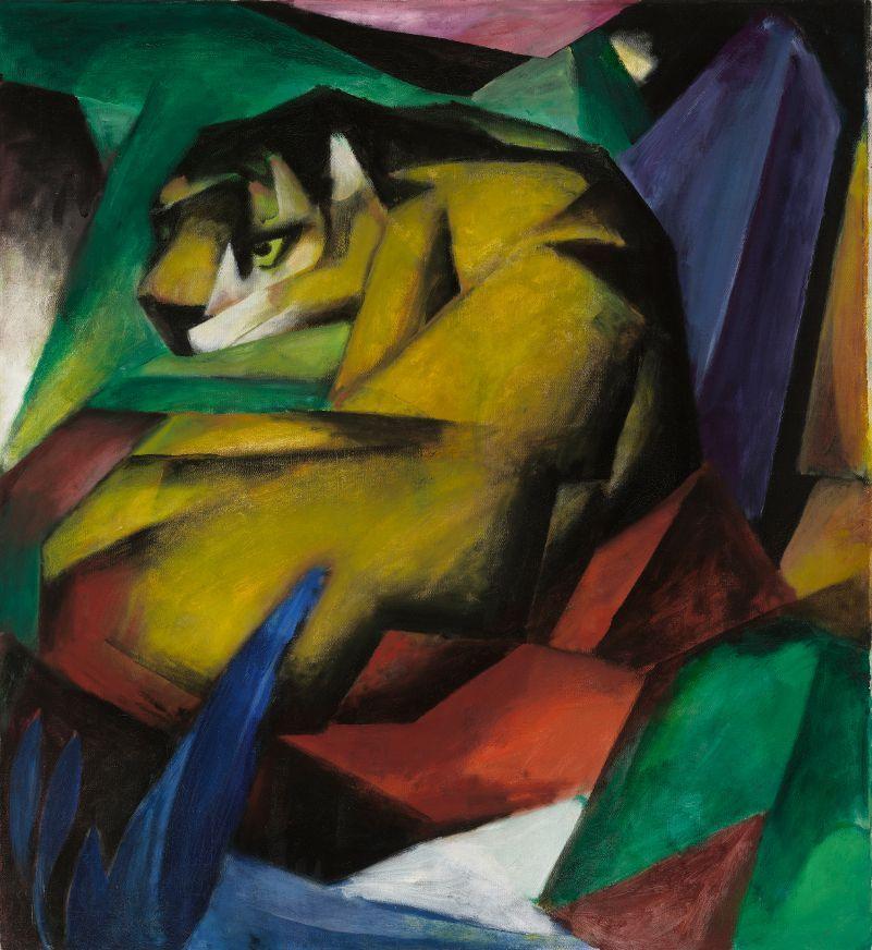 Franz Marc, Der Tiger, 1912, Öl auf Leinwand, 111 x 111,5 cm, © Foto Lenbachhaus, München.