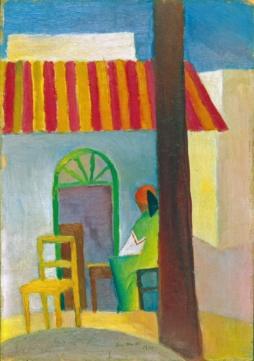 August Macke, Türkisches Café I, 1914, Öl auf Holz, 33,5 x 25 cm, Kunstmuseum Bonn.