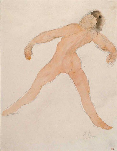 Auguste Rodin, Tanzende mit nach hinten geworfenem Kopf. Aquarell um 1900/1905, 30,8 x 23,6 cm