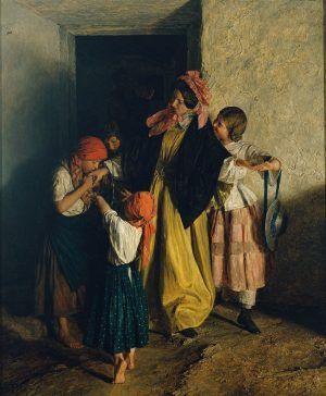 Ferdinand Georg Waldmüller, Der Abschied der Patin (Nach der Firmung), 1859, Öl auf Holz 80,5 x 61 cm © Belvedere, Wien.