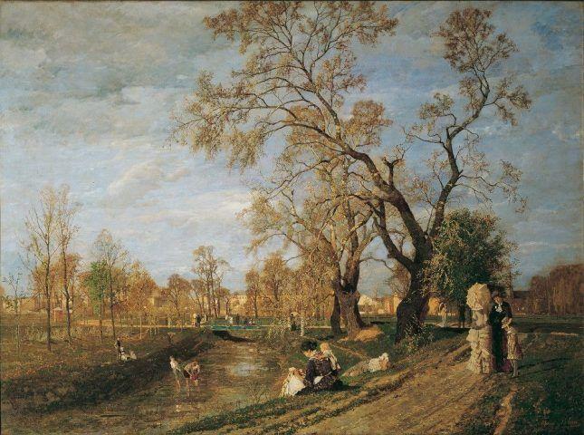 Tina Blau, Frühling im Prater, 1882, Öl auf Leinwand 214 x 291 cm (Belvedere, Wien)