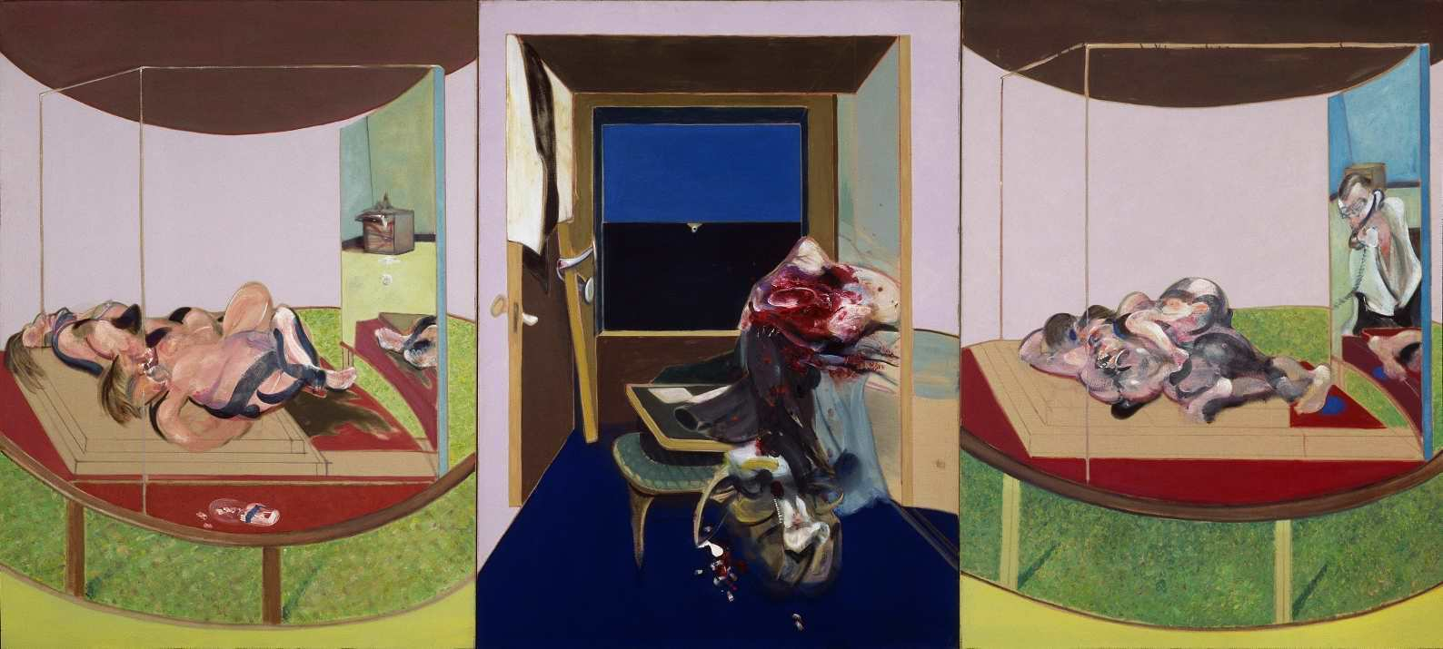 Francis Bacon, Triptychon inspiriert von T.S Elliot's Gedicht Sweeney Agonistes, 1967, Öl auf Leinwand (Hirshhorn Museum and Sculpture Garden, Smithsonian Institution, Washington DC, gift of the Joseph H. Hirshhorn Foundation, 1972).