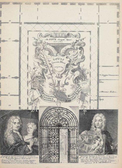 Anton Joseph von Prenner, Theatrum artis pictoriae, 1728–1733 Wien, Grundriss und Porträts der ausführenden Künstler (Privatsammlung), Foto: Alexandra Matzner.