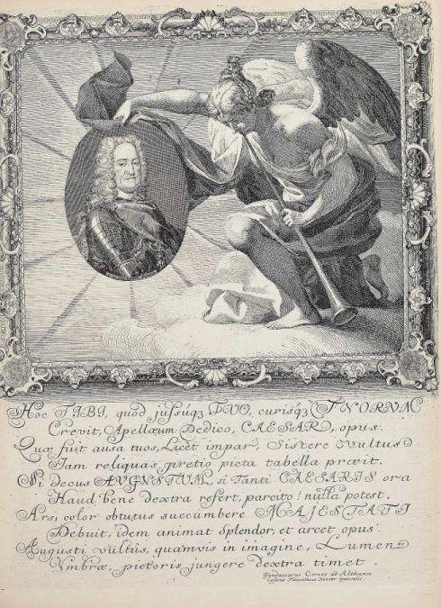 Anton Joseph von Prenner, Theatrum artis pictoriae, 1728–1733 Wien, Widmungsmedaillon (Privatsammlung), Foto: Alexandra Matzner.