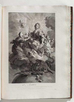 Louis Deplaces nach Giovanni Battista Gaulli Heilige Klara, in: Pierre Crozat,Pierre-Jean Mariette, Recueil Crozat, 1729/1742 (Privatbesitz, Foto: © Markus Tretter Fotografie)