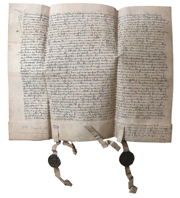 """Hans Niesenbergers """"Urfehde"""" (Verzicht auf Rechtsmittel), 1491, Erzbischöfliches Archiv Freiburg, Foto: Erzbischöfliches Archiv Freiburg."""