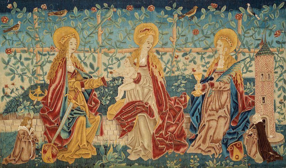 Antependium mit weiblichen Heiligen und den Stiftern Peter Sprung und Elisabeth Zehenderin, um 1510, Erzbischöfliches Diözesanmuseum, Münsterfabrikfonds Freiburg, Foto: Städtische Museen Freiburg.