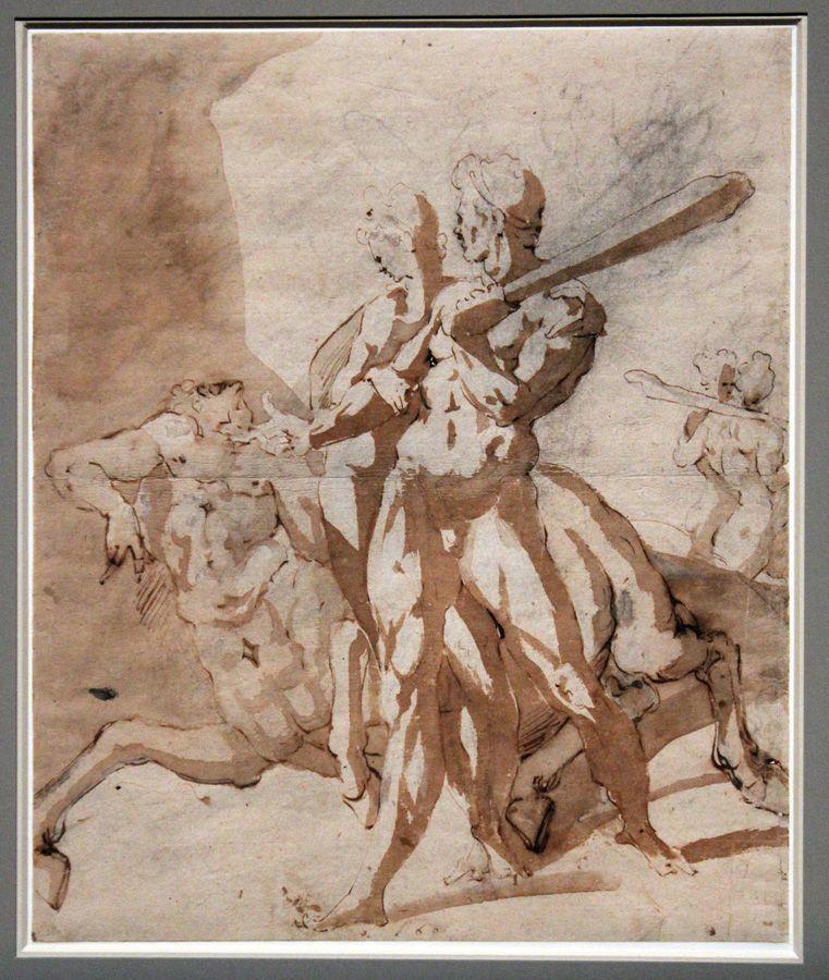 Adriaen de Vries, Herkules, Deianeira und Nessos, um 1605, Feder, Lavierung, weiße Höhung, Installationsansicht in der Albertina, Foto: Alexandra Matzner.