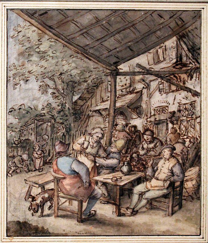 Adriaen van Ostade, Bauern unter einer Sommerlaube, um 1675, Feder, Kreide, laviert, Installationsansicht in der Albertina, Foto: Alexandra Matzner.